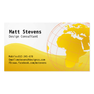 Wire Yellow Globe Europe Africa Business Card