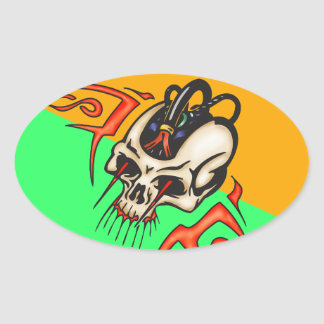 Wired Cyborg Skull Oval Sticker