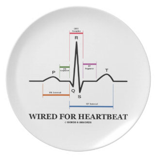 Wired For Heartbeat (Electrocardiogram) Melamine Plate