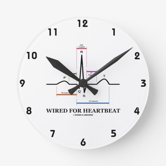 Wired For Heartbeat (Electrocardiogram) Round Clock