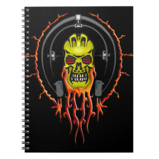 Wired For Sound Cyborg Skull Notebook