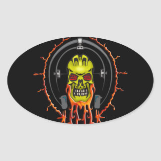 Wired For Sound Cyborg Skull Oval Sticker