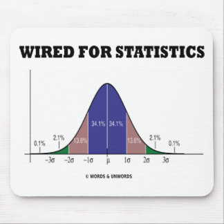 Wired For Statistics (Bell Curve Stats Attitude) Mouse Pad