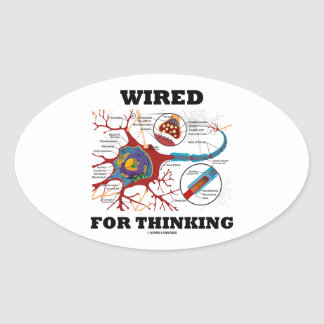 Wired For Thinking (Neuron Synapse) Oval Sticker