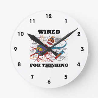 Wired For Thinking (Neuron Synapse) Round Clock