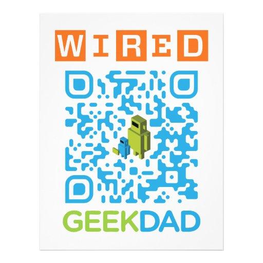 wired geek dad qr code letterhead template zazzle