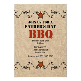 Wired Red Star Father's Day BBQ Invitation