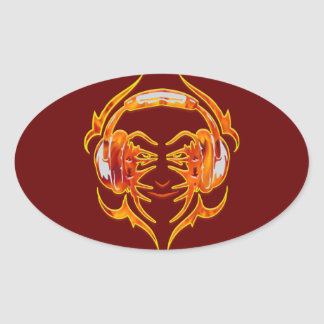 Wired Up For Music Oval Sticker