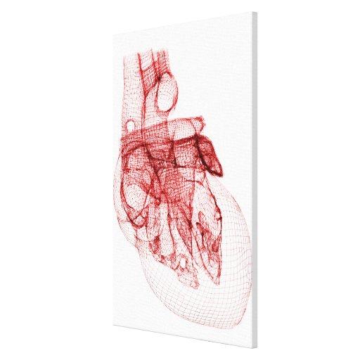 Wireframe de Digitaces del corazón humano Lona Envuelta Para Galerías