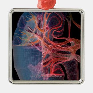 Wireframe del interior de un riñón adorno navideño cuadrado de metal