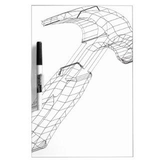wireframe del martillo tablero blanco