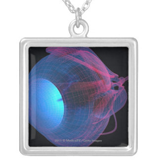 Wireframe of the muscles of the eye silver plated necklace
