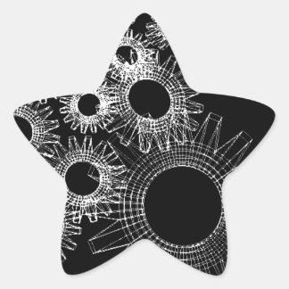 Wireframe, skeleton three-dimensional model star sticker