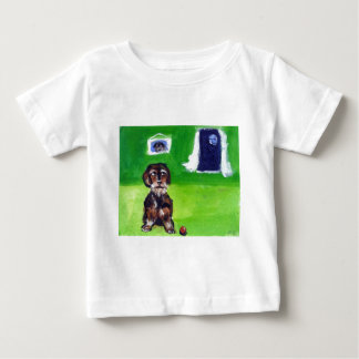 Wirehaired dachshund senses smiling moon baby T-Shirt