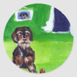 Wirehaired dachshund senses smiling moon sticker