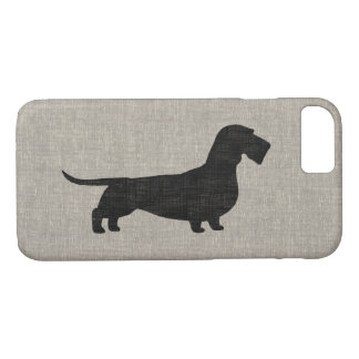 Wirehaired Dachshund Silhouette Faux Linen Style iPhone 7 Case