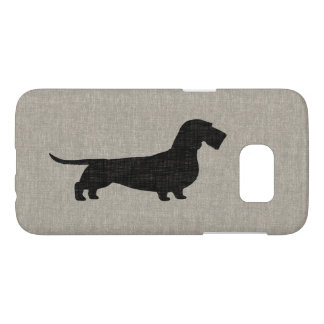 Wirehaired Dachshund Silhouette Faux Linen Style Samsung Galaxy S7 Case