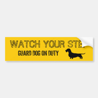 Wirehaired Dachshund Watch Your Step Car Bumper Sticker