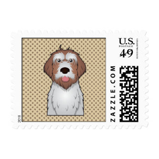 Wirehaired Pointing Griffon Cartoon Postage Stamp