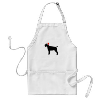 Wirehaired Pointing Griffon Dog With Red Santa Hat Adult Apron
