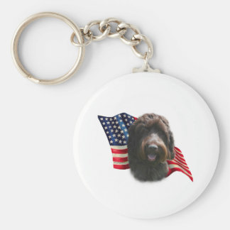 Wirehaired Pointing Griffon Flag Key Chains