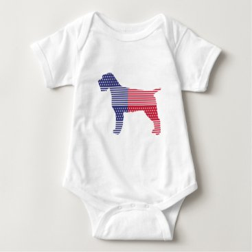 USA Themed Wirehaired Pointing Griffon Patriotic Dog Red Blue Baby Bodysuit