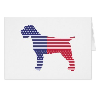 USA Themed Wirehaired Pointing Griffon Patriotic Dog Red Blue Card