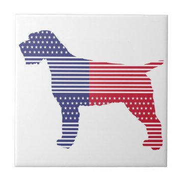 USA Themed Wirehaired Pointing Griffon Patriotic Dog Red Blue Ceramic Tile