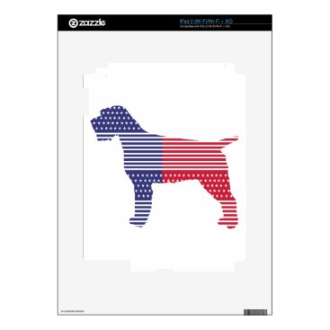 USA Themed Wirehaired Pointing Griffon Patriotic Dog Red Blue Decals For iPad 2