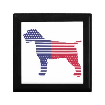 USA Themed Wirehaired Pointing Griffon Patriotic Dog Red Blue Gift Box