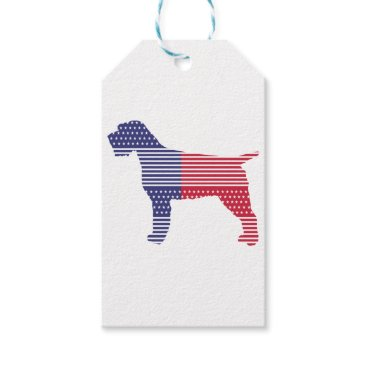 USA Themed Wirehaired Pointing Griffon Patriotic Dog Red Blue Gift Tags