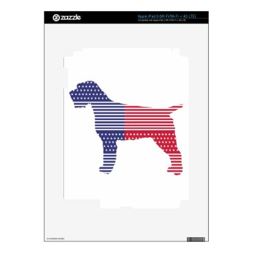 USA Themed Wirehaired Pointing Griffon Patriotic Dog Red Blue iPad 3 Skins