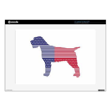 USA Themed Wirehaired Pointing Griffon Patriotic Dog Red Blue Laptop Decal