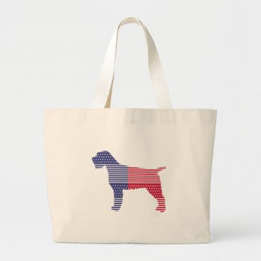 USA Themed Wirehaired Pointing Griffon Patriotic Dog Red Blue Large Tote Bag
