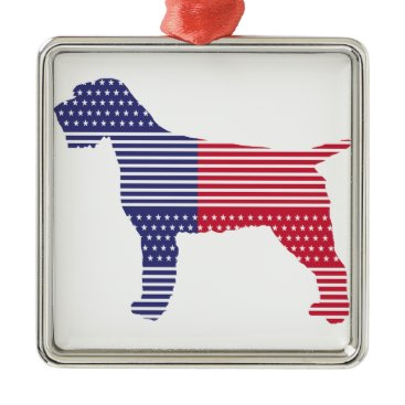 USA Themed Wirehaired Pointing Griffon Patriotic Dog Red Blue Metal Ornament