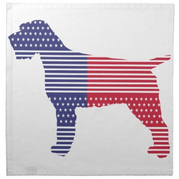 USA Themed Wirehaired Pointing Griffon Patriotic Dog Red Blue Napkin