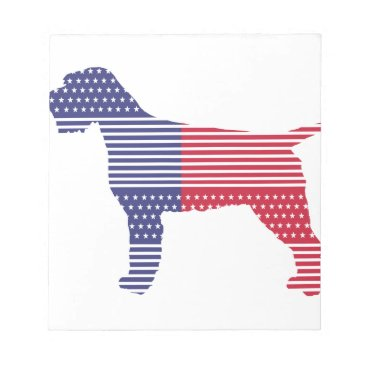 USA Themed Wirehaired Pointing Griffon Patriotic Dog Red Blue Notepad
