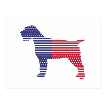 USA Themed Wirehaired Pointing Griffon Patriotic Dog Red Blue Postcard