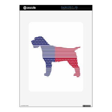 USA Themed Wirehaired Pointing Griffon Patriotic Dog Red Blue Skin For iPad
