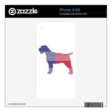 USA Themed Wirehaired Pointing Griffon Patriotic Dog Red Blue Skin For iPhone 4