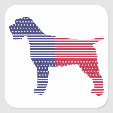 USA Themed Wirehaired Pointing Griffon Patriotic Dog Red Blue Square Sticker