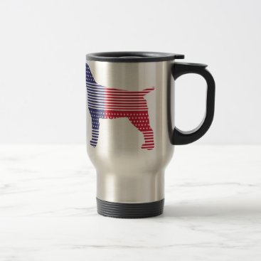 USA Themed Wirehaired Pointing Griffon Patriotic Dog Red Blue Travel Mug