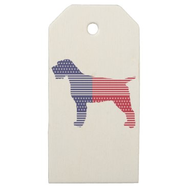 USA Themed Wirehaired Pointing Griffon Patriotic Dog Red Blue Wooden Gift Tags