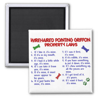 WIREHAIRED POINTING GRIFFON Property Laws 2 2 Inch Square Magnet