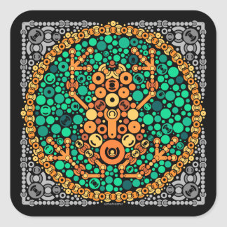 Wireless Frog, Color Perception Test, Black Square Sticker