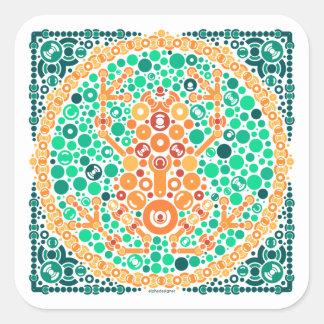 Wireless Frog, Color Perception Test, White Square Sticker