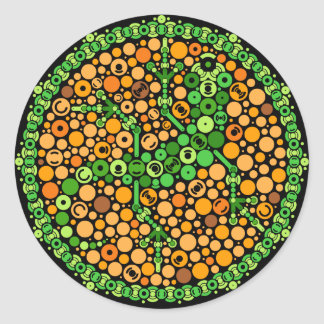 Wireless Gecko, Color Perception Test, Black Classic Round Sticker