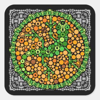 Wireless Gecko, Color Perception Test, Black Square Sticker