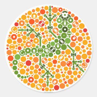 Wireless Gecko, Color Perception Test Classic Round Sticker