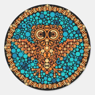 Wireless Owl, Color Perception Test, Black Classic Round Sticker